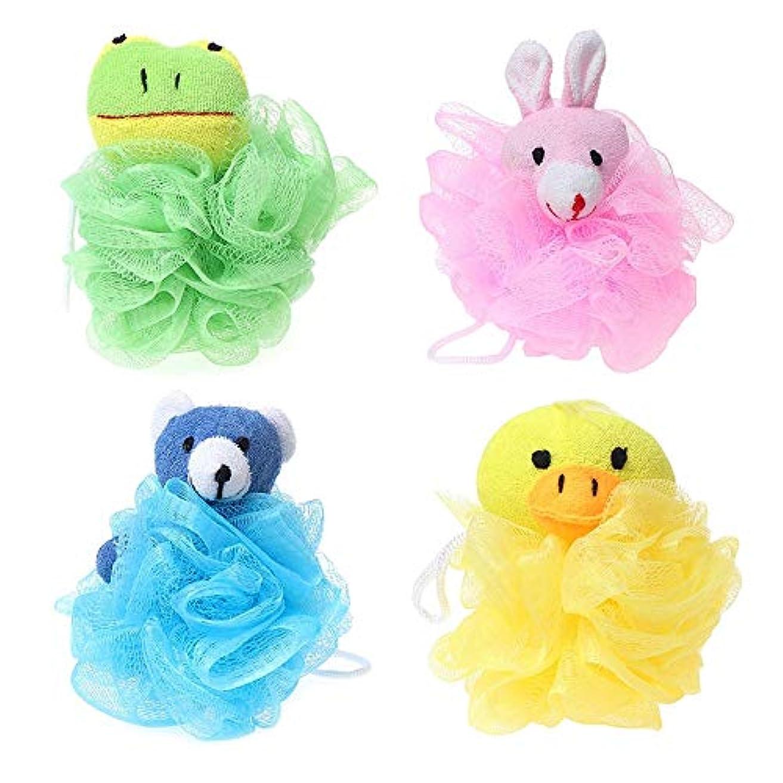 スカープバクテリア多様なGaoominy 子供用おもちゃクッションパフメッシュぬいぐるみ付き(4パック)カエル、アヒル、ウサギ、クマ