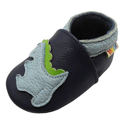 YALION Premium Weich Leder Babyschuhe Krabbelschuhe Lauflernschuhe Hausschuhe mit Dinosaurier Marineblau, EU 22/23=L