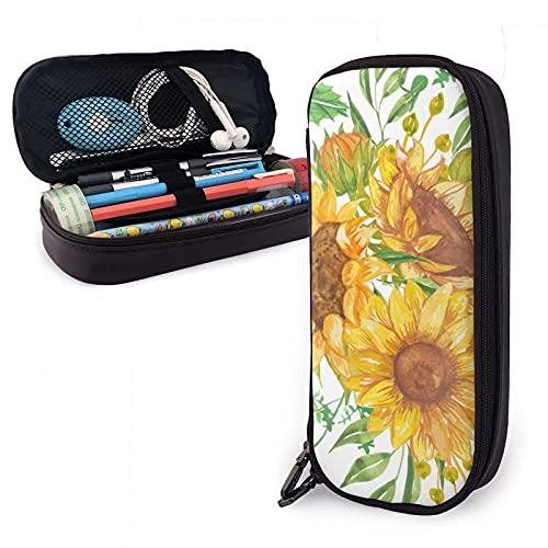 Vintage Beautiful Yellow Sunflowers Florals Estuche para lápices de cuero, gran capacidad, duradero, con cremallera, estuche para bolígrafos, estuche para lápices, almacenamiento, maquillaje
