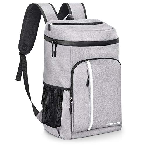 SEEHONOR Insulated Cooler Backpack Leakproof Soft Cooler Bag Lightweight Backpack with Cooler for Lunch Picnic Hiking Camping Beach Park Day Trips, 30 Cans (Grey)