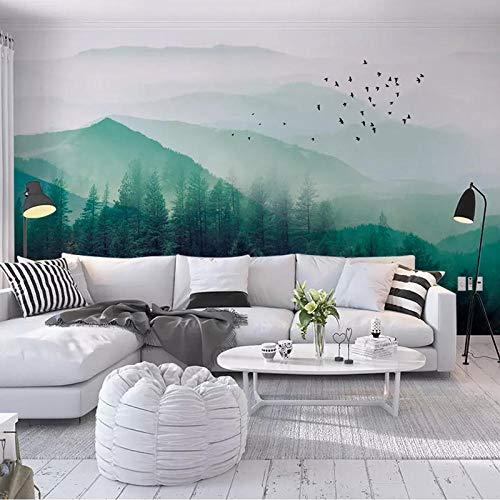 3d minimalista nórdico estilo ikea pájaro volador niebla pino bosque nube tv fondo papel de pared dormitorio sala de estar mura papel pintado a papel pintado pared dormitorio autoadhesivo-400cm×280cm