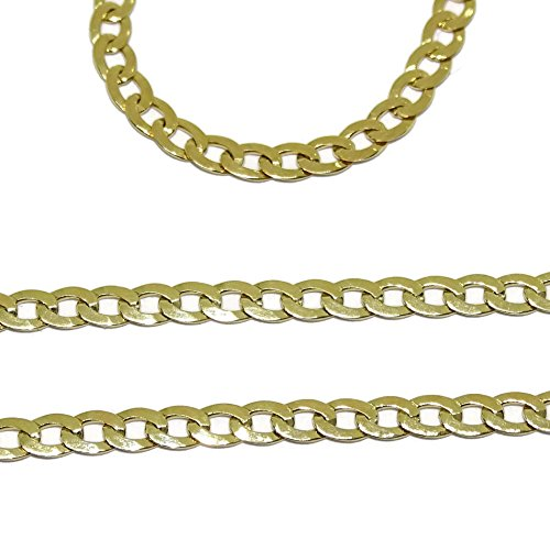 Never Say Never Catena in Oro giallo 18 K per Uomo Tipo Barbada di 60 cm di lunga e 3 mm larga