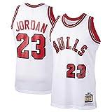 WJP Camiseta De Baloncesto para Hombre Michael Jordan 23# Chicago Bulls Sudadera Bordada Resistente Al Desgaste Transpirable Camiseta + Pantalones Cortos White-M(175~180CM)