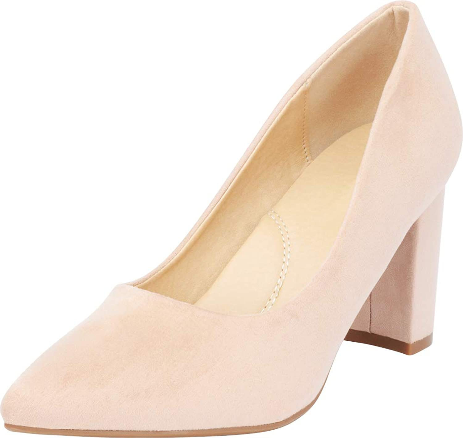 Cambridge Select Women's Pointed Toe Slip-On Chunky Block Heel Pump