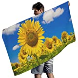 MINNOMO Gelbe Sonnenblumen Feld Blau Himmel Landschaft Druck Badetuch Premium Strandtuch White...