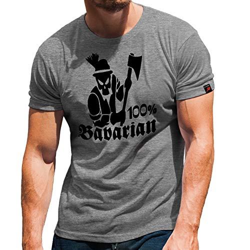 100 Percent Bavarian Bayern Bayrisch Heimat Tradition Stolz Axt T Shirt #32024, Größe:M, Farbe:Grau