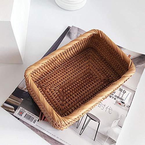 PovKeever Cesta de mimbre rectangular hecha a mano para tejer, bandeja de frutas, pan hecho a mano, caja de almacenamiento de...