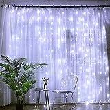 TECHVIDA Luces de Cortina 200LED 3m* 3m, impermeable IP54 Luces al Aire Libre de Blanco Resistente al Agua, Codena de Luces de Navidad con 8 Modelos de Iluminación para la Decoración de Fiestas y...