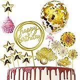 Rainmae Decoración para tarta de cumpleaños dorada con confeti de globos y fuegos artificiales, abanicos de papel, decoración para tartas de cumpleaños