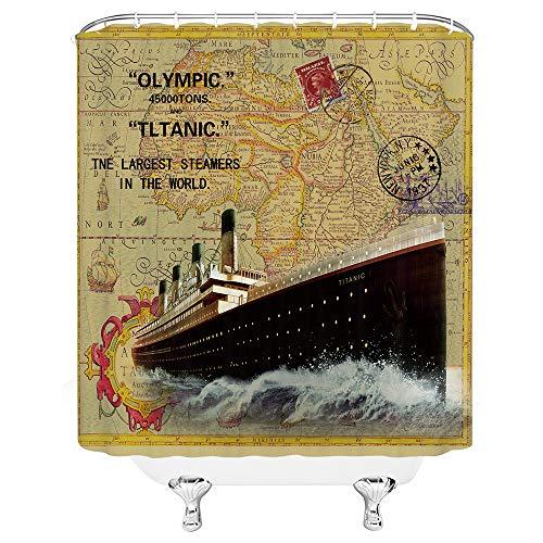 Schiff Duschvorhang Titanic Retro Duschvorhang Set Old Stamp Duschvorhang Nostalgie Zeitung Poster Badezimmer Duschvorhang Home Dekoration Schiff Nautische Karte Hintergr& Duschvorhang 70x70 Haken