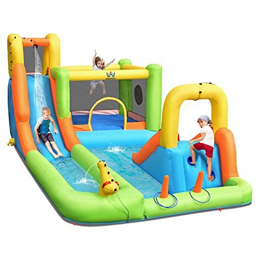 COSTWAY Inflatable Bouncy Castle, Jumper House Water Park with Double Slides, Water Gun, Basketball Hoop and Splashing Pool (Green+Orange)