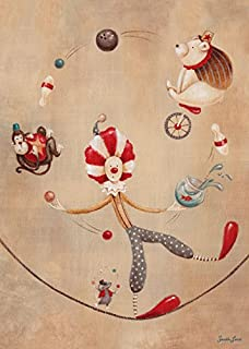Oopsy daisy, Fine Art for Kids Vintage Circus Clown Stretched Canvas Art by Sarah Lowe, 10 by 14-Inch