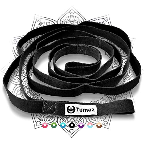 Tumaz Stretch Strap - 10 Loops & Non-Elastic Band - The Ideal Home Workout Stretching Strap for PT(Physical Therapy), Yoga, Pilates, Dance - [Extra Thick, Durable, Soft - Comes with Travel Bag]…