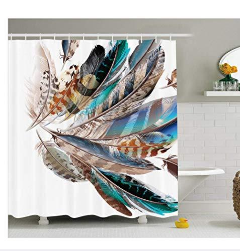 AdoDecor Badezimmer dekorative Accessoires Duschvorhang Vaned Typen und Natal Contour Flight Bird Federn und Tierhaut Print Teal Brown 160x180cm