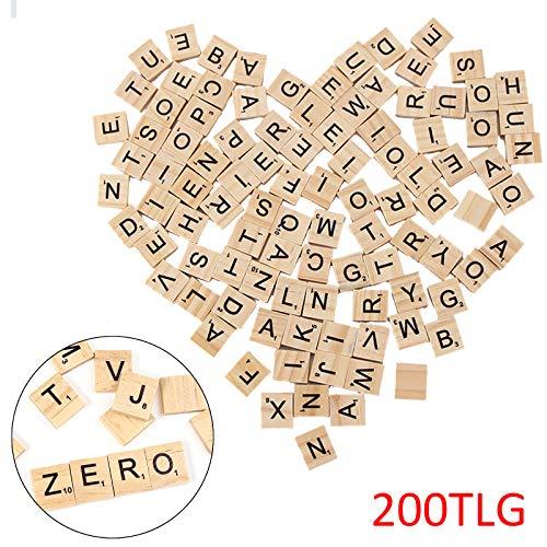 BALLSHOP 200stk Scrabble Buchstaben & Zahlen Holz Buchstabensteine Spielsteine für Kinder und Baby