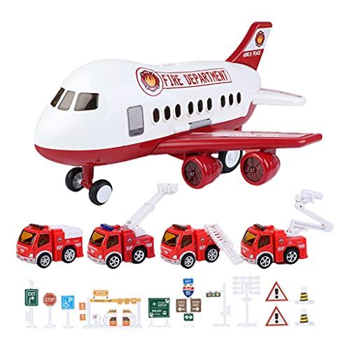 SunniMix Juguetes de plástico de simulación inercial helicóptero Modelo de avión Juguetes de educación temprana Incluyendo vehículos y señales de Carretera - Rojo D