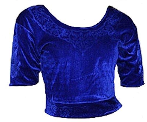 Trendofindia Trendofindia Blau Choli (Sari Oberteil) Samt Gr. S bis 3XL ideal für Bauchtanz (3XL)