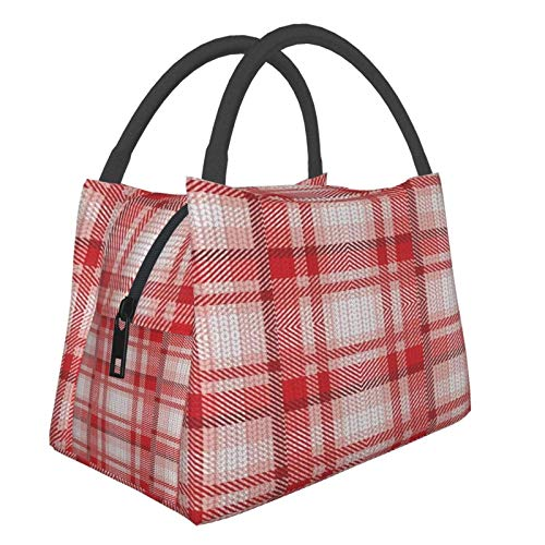 Insulated Lunch Bag Lunch Box Cooler Tote Box Cooler Bag Lunch Container Christmas Red Plaid Shabby Chic Water-Resistant Thermal Leak-Proof Lunchbox for Work Picnic
