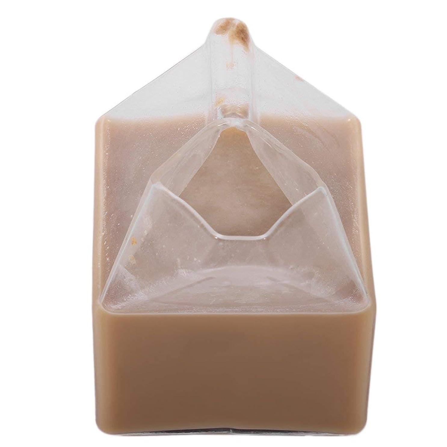 編集者誰レポートを書くユニークなアメリカの半分パイントクリーマーミルクカートンガラスカップコーヒーガラスジュースカップユニークなデザイン純粋な手作りの工芸品 - クリア
