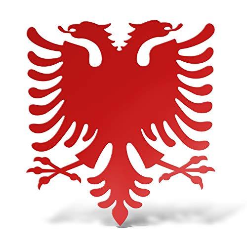 erreinge Sticker Albania Souvenir Rosso Adesivo prespaziato in PVC per Decalcomania Parete Murale Auto Moto Casco Camper Laptop - cm 12