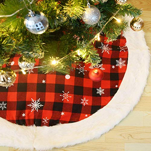 CHICHIC 48 Inch Large Christmas Tree Skirt Christmas Decorations Luxury Red Black Buffalo Plaid Tree Skirt Check with Plush White Faux Fur Xmas Trim for Rustic Farmhouse Christmas Holiday Decorations