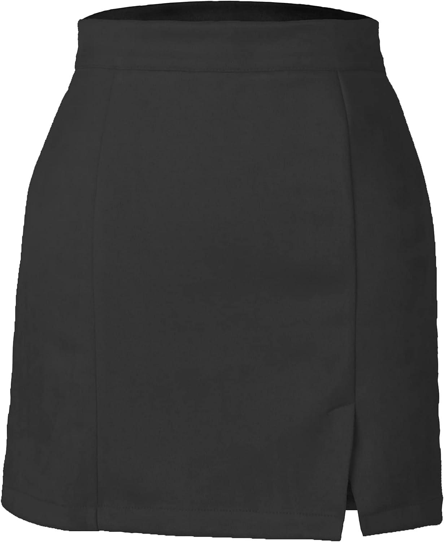 YONGGO Women's Faux Suede Vintage Bodycon A-Line Mini Skirt