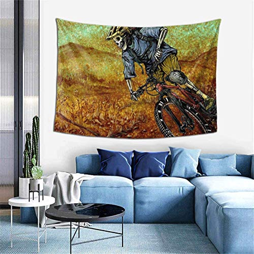 Wall Decoration Tapestry - Skull Mountain Bike Hippie Art Tapestry Wall Hanging - Extra Large Tablecloths 60 X 40 Inch for Bedroom Living Room Dorm Room Home Decor