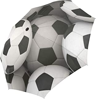 InterestPrint Sports Decor Soccer Ball Windproof Automatic Folding Travel Umbrella, Lightweight Compact Aoto Open and Close Umbrella with UV Protection