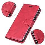LingDan Schutzhülle für Razer Phone 2 (5,7 Zoll) PU Lederhülle Flip Cover Ledertasche Retro Rindleder Muster mit Ständer Magnetverschluss Kartensteckplatz Brieftasche Hülle, Rot