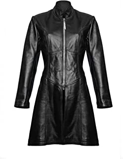 Womens Ladies Black Butter Soft Lambs Nappa Leather Steampunk Style Trench Coat