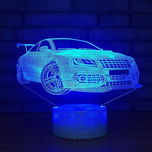 Night Light 3D Modified car Lamp 7 Colors Changing LED Desk Table Nightlight with Remote Control Optical Illusion Kids Girls Boys Home Decor Party