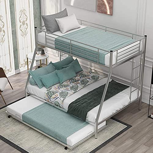 MWKL La más Nueva Cama Doble sobre Completa con escaleras de Dos Lados, litera de Acero Resistente para Muebles de Dormitorio/habitación de niños/Adolescentes
