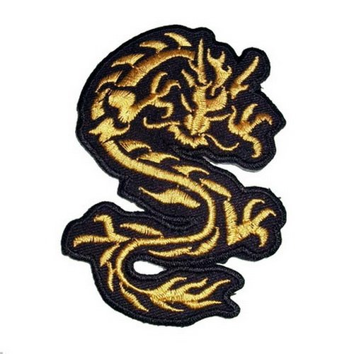 Graphic Dust Golden Chinese Dragon Embroidered Iron on Patch,Sew on Logo Clothes Clothing