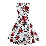 MisShow Damen Elegant 1950er Vintage Retro Rockabilly Kleider Petticoat Faltenrock Cocktail Festliche Kleider Blumen 2 XL