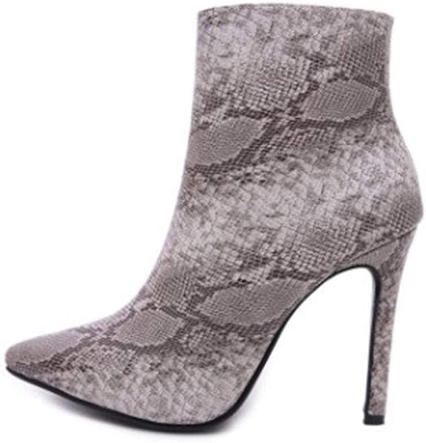 Winter Ladies Snakeskin High Heels Head Boots Large Size PU Leather Warm Artificial Short Plush Lining