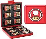 Genrics Funda de Juegos Compatible con Nintendo Switch con 12 Ranuras para Almacenamiento de Tarjetas de Juego y 12 Ranuras para Tarjetas SD, Estuche para Nintendo Switch Lite NS (Hongo Rojo)