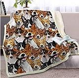 DHLZ Colección de Perros Throw Blanket 3D Pet Bulldog Sherpa Blanket Cute Animal Sheet Kids Thin Quilt 150 * 200Cm