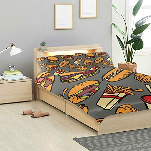 MONTOJ Cool Food Party Hamburgers Pizza Hot Dog Twin Design 3 Pieces Set Easy Fit Standard Twin Size Cover with 2 Pillowslips for Teens Bed room Decoration