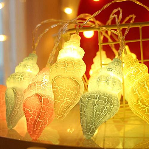 Luces Decorativas De Hadas Con Pilas Para El Dormitorio Linterna 10 Luces Led Grieta Concha Día De Navidad Luces Caseras Nórdicas Luces De Cadena@3 Metros 20 Pilas De Luz