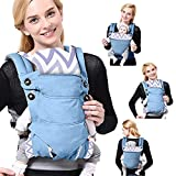 SaponinTree 4-in-1 Baby Carrier for Newborn, Breathable Adjustable Swaddle Wrap with Hood, Ergonomic Breastfeeding Baby Sling Carrier for Newborn to Toddler up to 20kg (0-48 Months) (Light Blue)