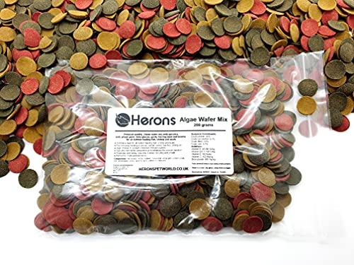 HERONS Algae Wafer Mix [200g] - Spirulina Algae Wafers - Tropical Fish Food For All Bottom Feeders - For Pleco, Catfish, Bristlenose, Loach, Cory, Snail, Shrimp