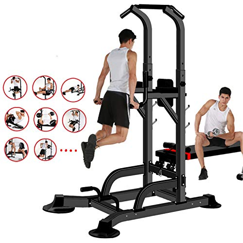 aiyu Power Tower, Multi-Function Workout Dip Station Pull Up Bar with Sit up Bench, Adjustable Height Push Up Tower Heavy Duty Fitness Equipment for Home Gym Supports to 1100 Lbs