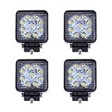 SAILUN 4x27W LED Lumière de travail carrée Offroad projecteur Floodlight Projecteur Floodlight Worklight 1755LM Noir en fonte d'aluminium IP67(4 * 27W,Square)