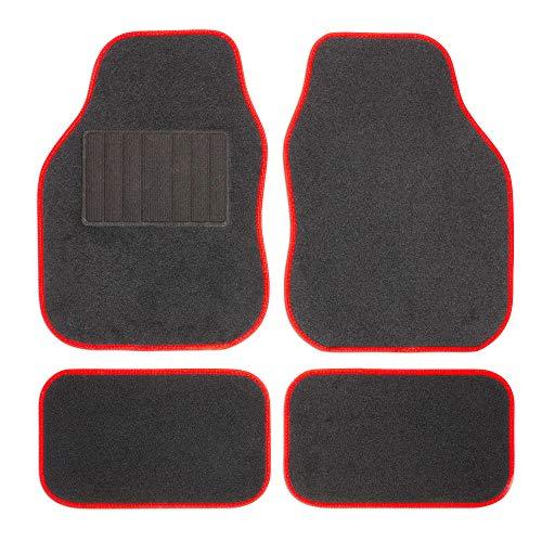 Safe Travel 27652 Universal-Automatten-Set für Linkslenker, Geschweißter Ferseneinsatz, Rote Einfassung