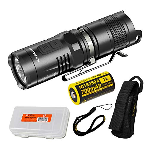 Nitecore MT10C 920 Lumen Multitask Tactical Flashlight with Red Light, Rechargeable Battery, and LumenTac Battery Organizer