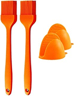 2 Pcs Silicone Brush and 2 Pcs Mini Gloves Heat Resistant for Pastry Baking BBQ Kitchen Cooking Basting
