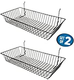 Black Wire Baskets for Slatwall, Gridwall or Pegboard (Set of 2), Merchandiser Baskets, Perfect for Retailers...