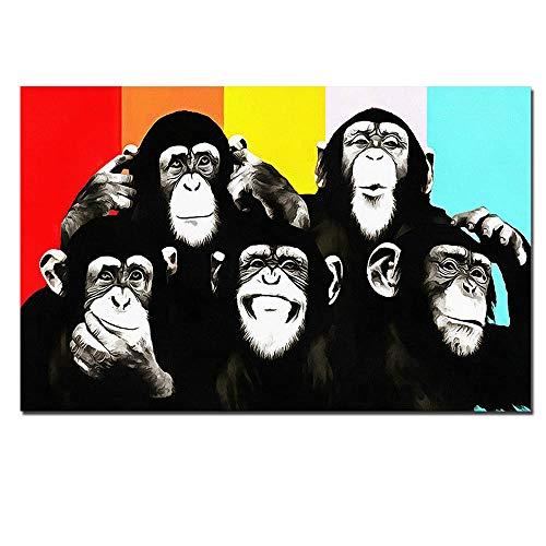 XXW Andy Warhol Colorido Mono Animal Impresión En Lienzo Pinturas para La Sala Arte De La Pared Cuadros Cuadros Sin Marco