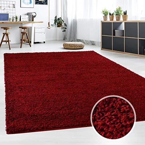 Hochflor Teppich | Shaggy Teppich fürs Wohnzimmer Modern & Flauschig | Läufer für Schlafzimmer, Esszimmer, Flur und Kinderzimmer | Langflor Carpet rot 060x090 cm