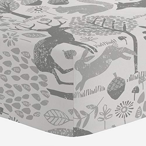Product Image of the Carousel Designs Gray Woodland Animals Crib Sheet - Organic 100% Cotton Fitted...